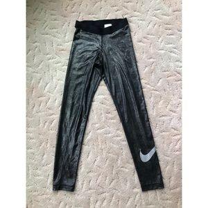 Silver Shimmer Full Length Nike Leggings